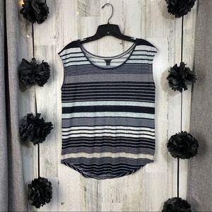 Ann Taylor sleeveless linen stripe top